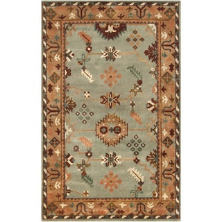 Hand-Knotted Adrienne Border New Zealand Wool Rug (9' x 13')