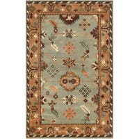 Hand-Knotted Adrienne Border New Zealand Wool Area Rug (9' x 13') - 9' x 13'