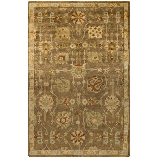 """Hand-Knotted Caitlin Floral New Zealand Wool Area Rug - 5'6"""" x 8'6"""""""
