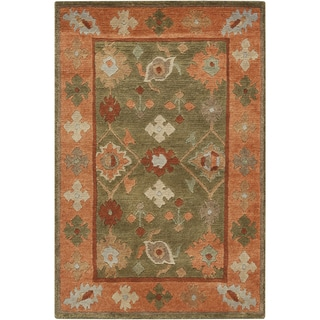Hand-Knotted Tricia Border New Zealand Wool Rug (5' x 8')