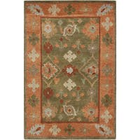 Hand-Knotted Tricia Border New Zealand Wool Area Rug - 5' x 8'