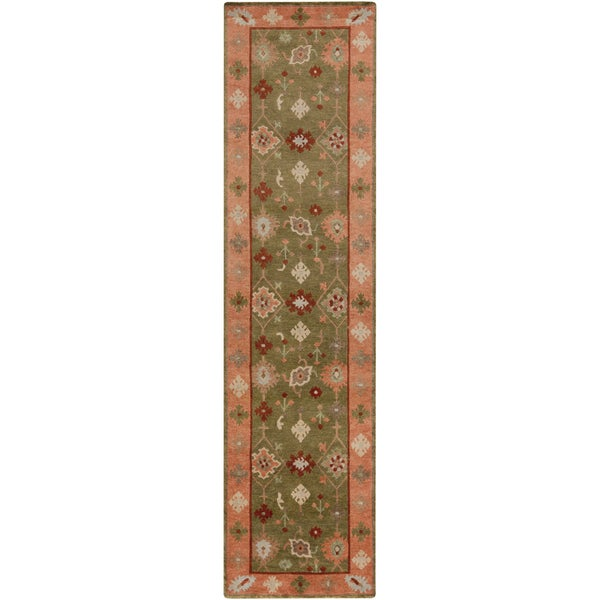Hand-Knotted Tricia Border New Zealand Wool Area Rug (2'6 x 10')