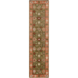 Hand-Knotted Tricia Border New Zealand Wool Rug (2'6 x 10')