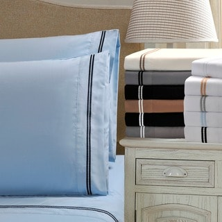 Superior Wrinkle Resistant Embroidered 2-Line Sheet Set in Gift Box