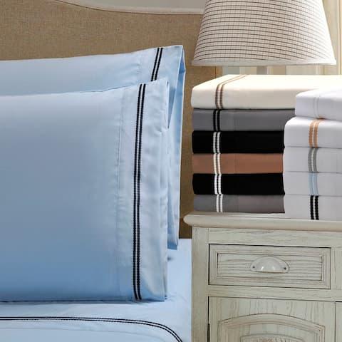 Superior Wrinkle Resistant Embroidered Microfiber Bed Sheet Set