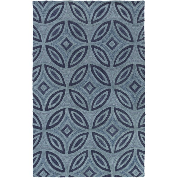 Hand-Tufted Natalee Geometric Pattern Wool Area Rug - 9' x 13'