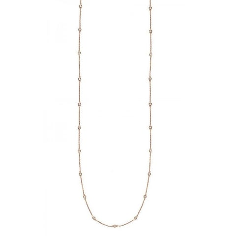 Suzy Levian 14k Gold 3/5ct TDW Bezel Diamond Station Necklace (36 inch)
