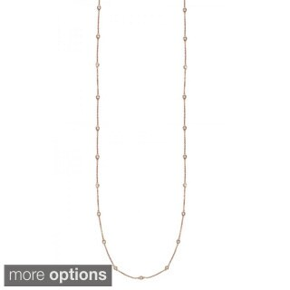 Suzy Levian 14k Gold 3/5ct TDW Bezel Diamond Station Necklace (36 inch)
