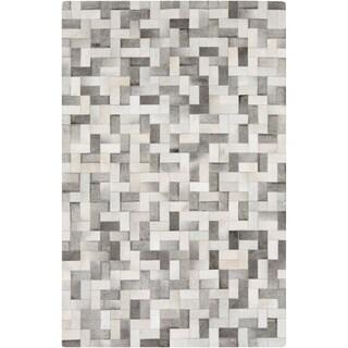 Handmade Phillip Check Pattern Leather Rug (5' x 8')