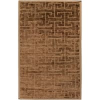 Hand-Knotted Max well Geometric Pattern Jute Area Rug - 5' x 8'