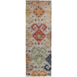 Hand-Knotted Ruth Ikat Pattern Hemp Rug (2'6 x 8')