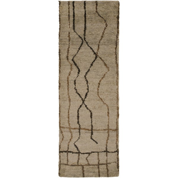 Hand-Knotted Ross Abstract Pattern Hemp Area Rug (2'6 X 8
