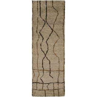 Hand-Knotted Ross Abstract Pattern Hemp Rug (2'6 x 8')