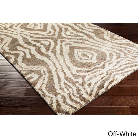 Hand-Knotted Roth Abstract Pattern Hemp Area Rug