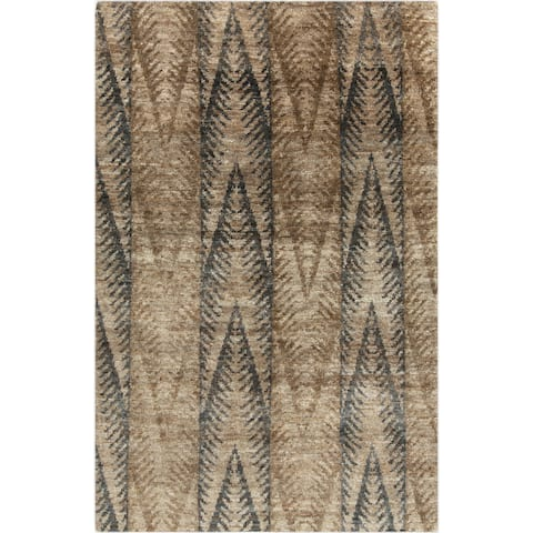 Hand-Knotted Nell Ikat Pattern Hemp Area Rug - 2' x 3'