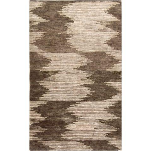 Hand-Knotted Mina Ikat Pattern Hemp Area Rug - 2' x 3'