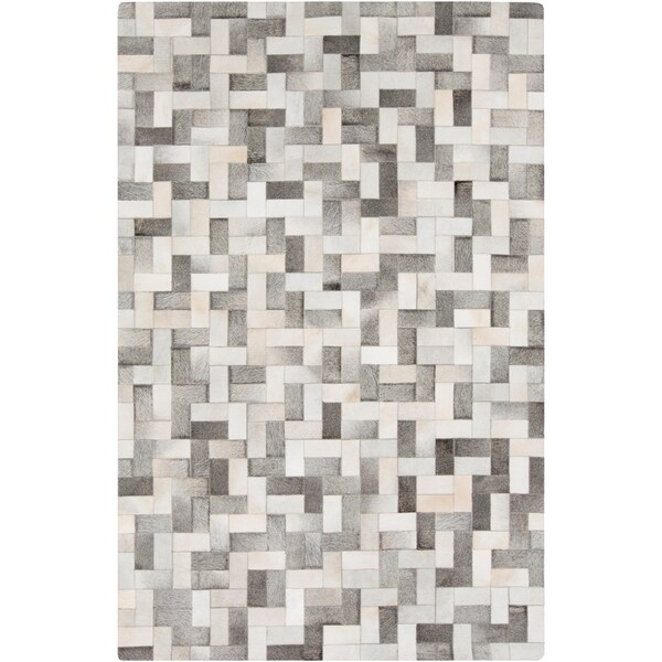 Handmade Phillip Check Pattern Leather Area Rug - 2' x 3'