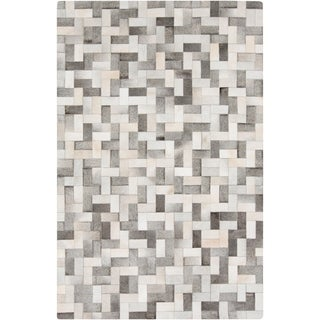 Handmade Phillip Check Pattern Leather Rug (2' x 3')