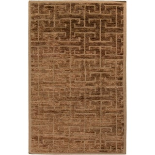 Hand-Knotted Maxwell Geometric Pattern Jute Rug (2' x 3')