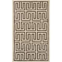 Hand-Woven Gilberto Geometric Pattern Jute Area Rug - 5' x 8'