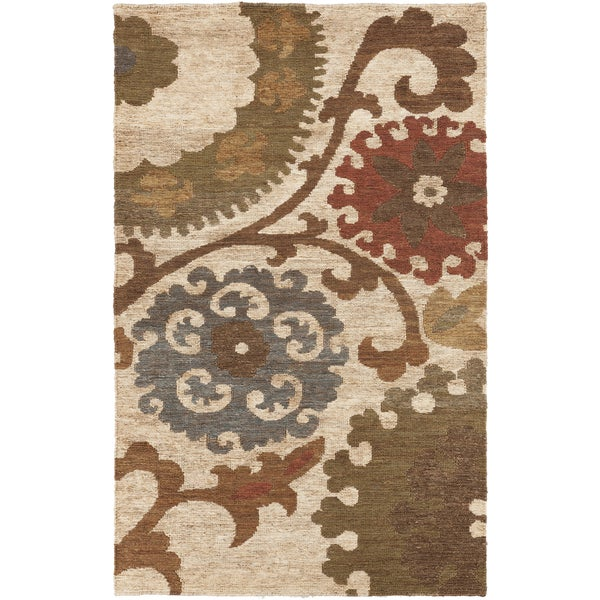 Hand-Woven Hadassah Floral Pattern Jute Rug (5' x 8')
