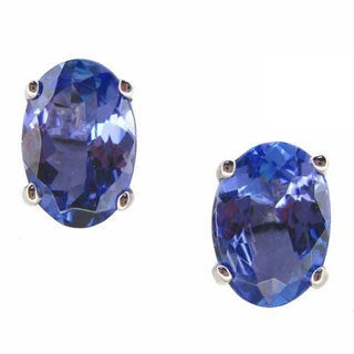Kabella 14k White Gold Tanzanite Oval Stud Earrings