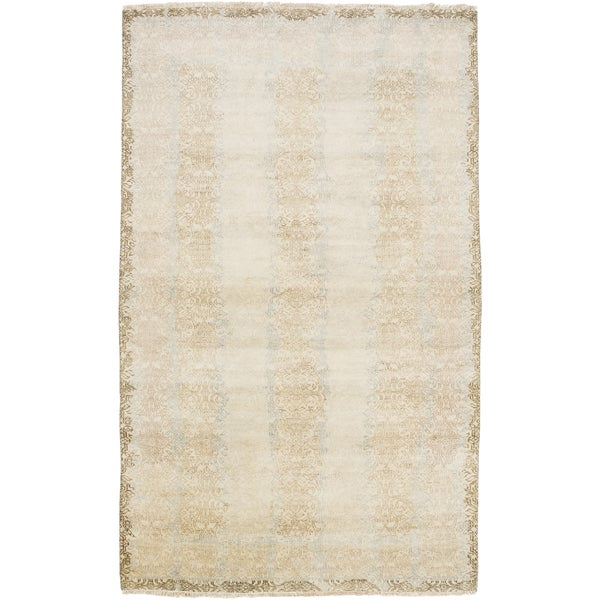 Hand-Knotted Stuart Border New Zealand Wool Area Rug - 2' x 3'