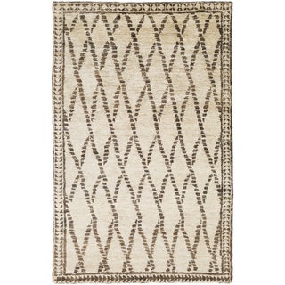 Hand-Knotted Rick Stripe Pattern Hemp Area Rug (Beige - 8 x 11)
