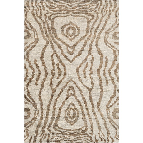Hand-Knotted Roth Abstract Pattern Hemp Area Rug - 5' x 8'
