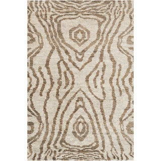 Hand-Knotted Roth Abstract Pattern Hemp Rug (5' x 8')