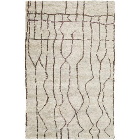 Hand-Knotted Ross Abstract Pattern Hemp Area Rug