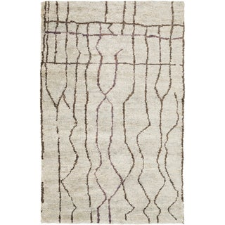 Hand-Knotted Ross Abstract Pattern Hemp Rug (5' x 8')