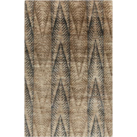 Hand-Knotted Nell Ikat Pattern Hemp Area Rug - 5' x 8'