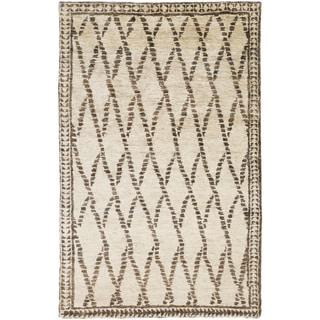 Hand-Knotted Rick Stripe Pattern Hemp Rug (3'3 x 5'3)
