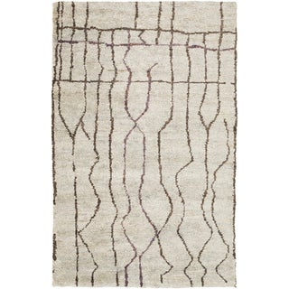 Hand-Knotted Ross Abstract Pattern Hemp Rug (3'3 x 5'3)