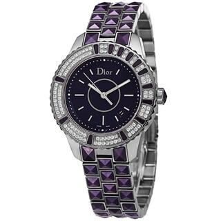 Christian Dior Women's CD11311JM001 'Christal' Purple Diamond Dial Stainless Steel Swiss Quartz Watch