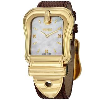 Fendi Women's F382414522D1 'B. Fendi' Mother of Pearl Dial Brown Leather Strap Quartz Watch