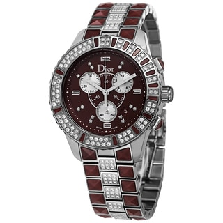 Christian Dior Women's CD11431FM001 'Christal' Red Diamond Dial Stainless Steel Chronograph Watch