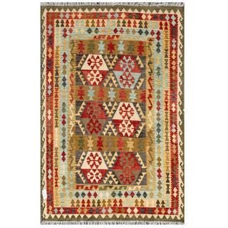 Herat Oriental Afghan Hand-woven Tribal Kilim Gray/ Red Wool Rug (5'7 x 8'2)