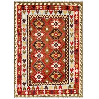 Herat Oriental Afghan Hand-woven Tribal Kilim Brown/Red Wool Rug (5'7 x 7'11)
