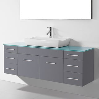 Virtu USA Biagio 56-inch Single Bathroom Vanity Cabinet Set in Grey