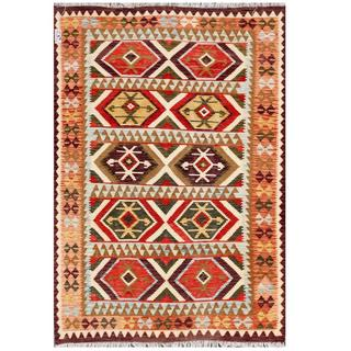 Herat Oriental Afghan Hand-woven Tribal Wool Kilim (5'6 x 7'10)