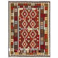 Handmade Herat Oriental Afghan Tribal Wool Kilim  - 5'7 x 7'8 (Afghanistan)