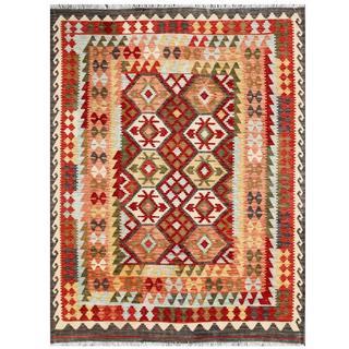 Herat Oriental Afghan Hand-woven Tribal Kilim Beige/ Red Wool Rug (5'8 x 7'7)