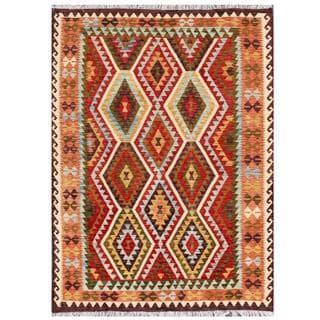 Herat Oriental Afghan Hand-woven Tribal Kilim Rust/ Red Wool Rug (5'9 x 7'9)