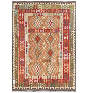 Herat Oriental Afghan Hand-woven Tribal Kilim Rust/ Olive Wool Rug (5'8 x 7'8)