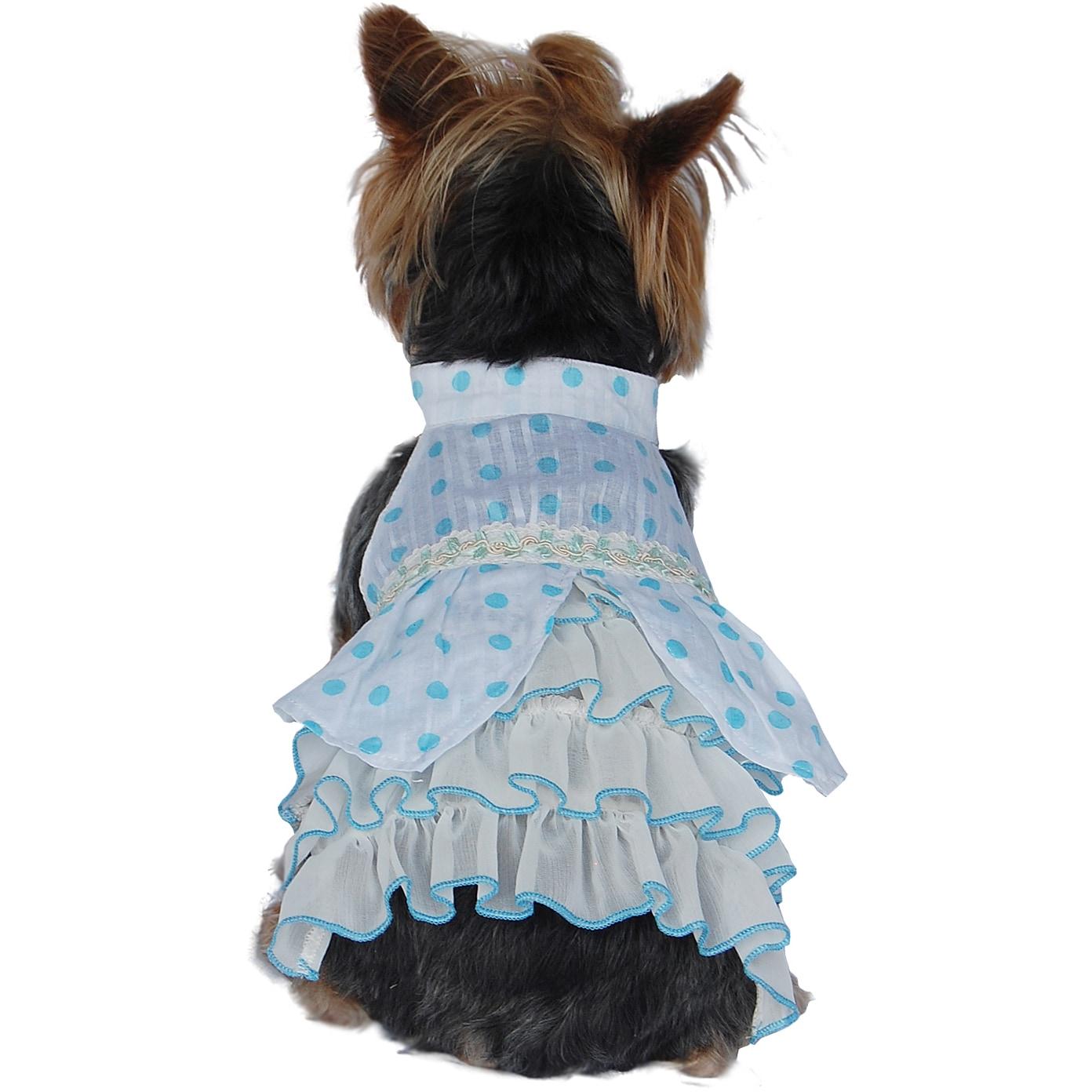 ANIMA Small Dog Polka-dot Dress (Large Blue), Size L (pol...