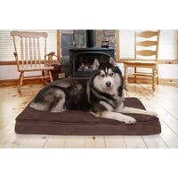 FurHaven Deluxe Snuggle Terry & Suede Orthopedic Pet Bed Dog Bed