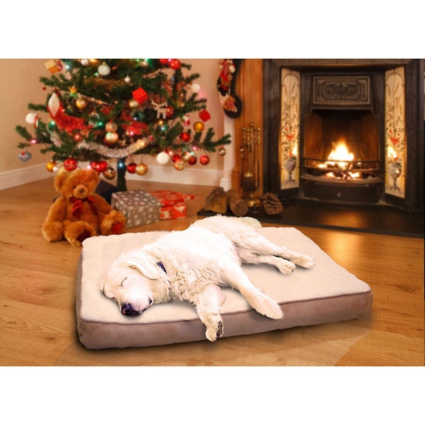 Furhaven Sherpa And Suede Deluxe Orthopedic Pet Bed Free