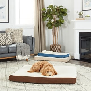 Furhaven Sherpa and Suede Deluxe Orthopedic Pet Bed